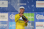 Steve Cummings of Great Britain and Team Dimension Data celebrates winning the Tour of Britain 2016 stage 8 , London, United Kingdom on 11 September 2016. Photo by Mark Davies.