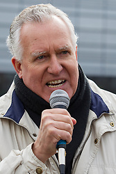 © Licensed to London News Pictures . 09/03/2013 . Swansea , UK . Peter Hain MP for Neath addresses anti fascist counter protesters . A white pride demonstration in Swansea to coincide with White Pride World Wide Day . Supporters of various far-right groups , including Blood and Honour and the National Front , attend . Photo credit : Joel Goodman/LNP