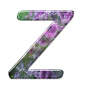 The Capitol Letter Z Part of a set of letters, Numbers and symbols of 3D Alphabet made with a floral image on white background