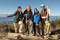 Friends Hiking on Coastline