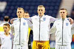 James Ward-Prowse, Jordan Pickford and Matt Targett of England U21  - Mandatory byline: Matt McNulty/JMP - 07966386802 - 03/09/2015 - FOOTBALL - Deepdale Stadium -Preston,England - England U21 v USA U23 - U21 International