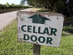 Detail of winery sign at Mclaren Vale wine producing area near Adelaide in South Australia