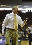 February 19 2011: Michigan Wolverines head coach John Beilein yells at an official during the first half of an NCAA college basketball game at Carver-Hawkeye Arena in Iowa City, Iowa on February 19, 2011. Michigan defeated Iowa 75-72 in overtime.