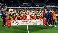 AMSTELVEEN -  Team Nederland na de tweede  Olympische kwalificatiewedstrijd hockey mannen ,  Nederland-Pakistan (6-1). Oranje plaatst zich voor de Olympische Spelen 2020.  KNHB KOEN SUYK