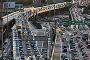 Traffic lines up in both directions as cars enter and exit the San Francisco Bay Bridge