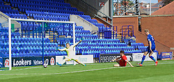 BIRKENHEAD, ENGLAND - Sunday, September 11, 2016: Liverpool's Ben Woodburn scores the second goal against Leicester City during the FA Premier League 2 Under-23 match at Prenton Park. (Pic by Concepcion Valadez/Propaganda)