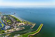 Nederland, Friesland, Súdwest-Fryslân, 07-05-2018;  Stavoren, ook Stavern, voormalige Hanzestad.  Haven.<br /> Former Hanseatic city.<br /> luchtfoto (toeslag op standard tarieven);<br /> aerial photo (additional fee required);<br /> copyright foto/photo Siebe Swart
