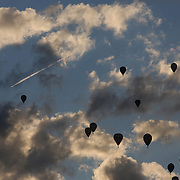 Hot Air balloons in the skies around rural Michigan near Battle Creek during the World Hot Air Ballooning Championships. Battle Creek, Michigan, USA. 20th August 2012. Photo Tim Clayton