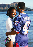 The National Football Conference Minnesota Vikings safety Joey Browner (47) poses for a photo with his wife on Waikiki Beach with Diamond Head volcano in the background after photo day the week before the 1989 NFL Pro Bowl football game against the American Football Conference on Jan. 24, 1989 in Honolulu. The NFC won the game 34-3. (©Paul Anthony Spinelli)