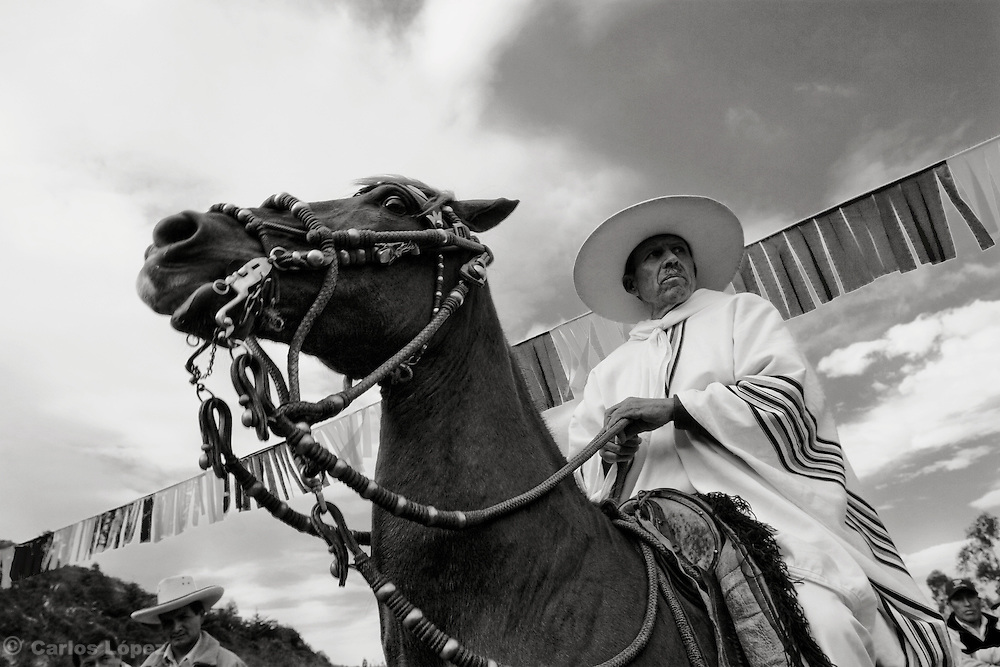"""ONE """"CHALAN"""" ON HIS HORSE. CHALAN IS CALLED THE HORSE RIDER OF THE PERUVIAN PASO, A BREED OF HORSE DISTINGUISHED BY THE WAY  HOW IT WALKS.  The Hatun Luya is a festival celebrated every september 13th, where everyone from the surrounding areas comes together. During this festivity, you can witness demonstrations of popular customs."""