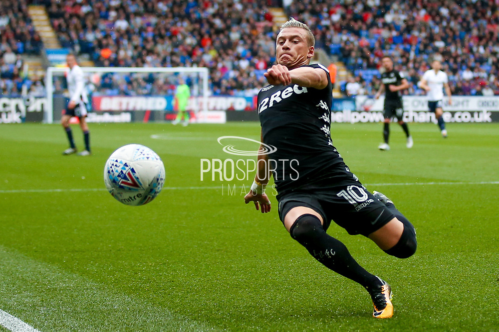 Leeds United midfielder Ezgjan Alioski (10)  can't keep the ball in play during the EFL Sky Bet Championship match between Bolton Wanderers and Leeds United at the Macron Stadium, Bolton, England on 6 August 2017. Photo by Simon Davies.