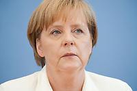 21 JUL 2010, BERLIN/GERMANY:<br /> Angela Merkel, CDU, Bundeskanzlerin, Pressekonferenz vor der Sommerpause, Bundespressekonferenz<br /> IMAGE: 20100721-02-036
