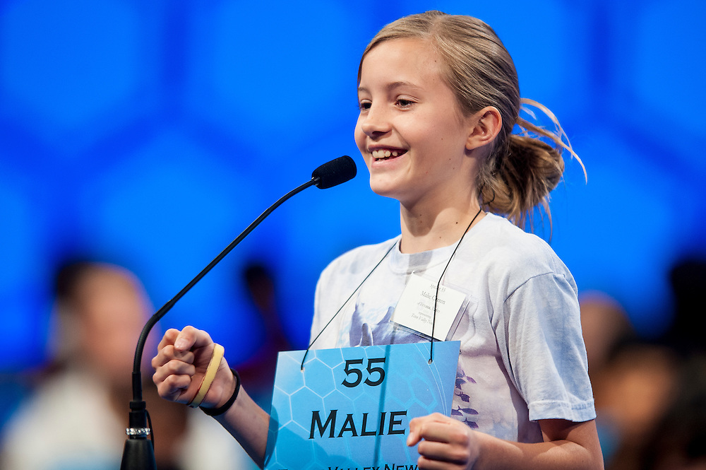 MALIE QUETA CURREN, 12, from Tetonia, Idaho, competes in round three of the 85th Annual Scripps National Spelling Bee at the Gaylord National Resort & Convention Center in National Harbor, Md., near Washington, D.C.