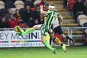 Lenell John-Lewis of Newport County and Paul Robinson of AFC Wimbledon tussle during the Sky Bet League 2 match between Newport County and AFC Wimbledon at Rodney Parade, Newport, Wales on 19 December 2015. Photo by Stuart Butcher.