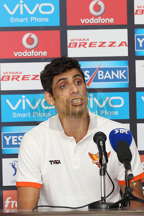 Sunrisers Hyderabad player Ashish Nehra addressing media after the match 22 of the Vivo IPL 2016 (Indian Premier League ) between the Sunrisers Hyderabad and the Rising Pune Supergiants held at the Rajiv Gandhi Intl. Cricket Stadium, Hyderabad on the 26th April 2016<br /> <br /> Photo by Faheem Hussain / IPL/ SPORTZPICS