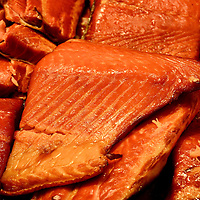 Smoked Wild King Salmon Fillets at Public Market Center in Seattle, Washington