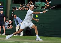 Tennis - 2019 Wimbledon Championships - Week Two, Friday (Day Eleven)<br /> <br /> Men's Singles, Semi-Final: Rafael Nadal (ESP) v Roger Federer (SUI)<br /> <br /> Roger Federer on Centre Court.<br /> <br /> COLORSPORT/ANDREW COWIE