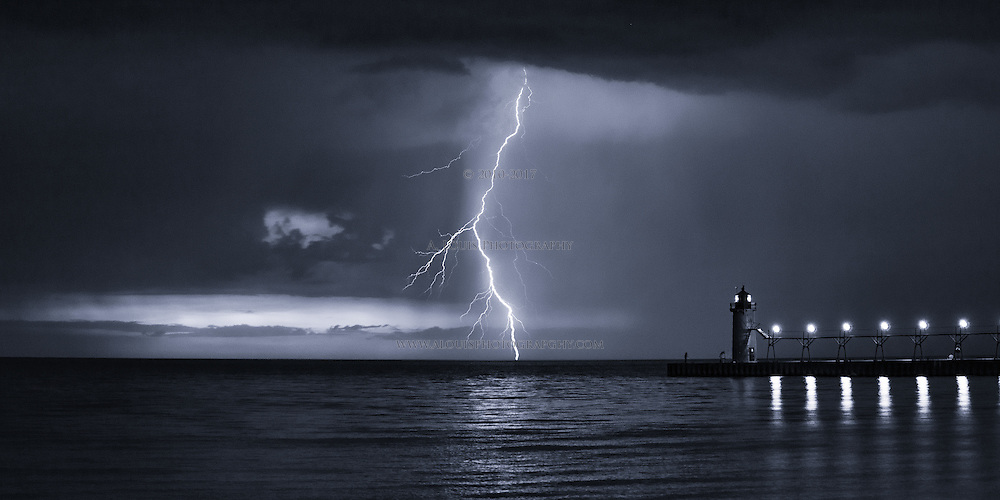 "Lightning bolt in monochrome. This image is natively a 10x20"" panoramic print and is recommended for metallic paper."