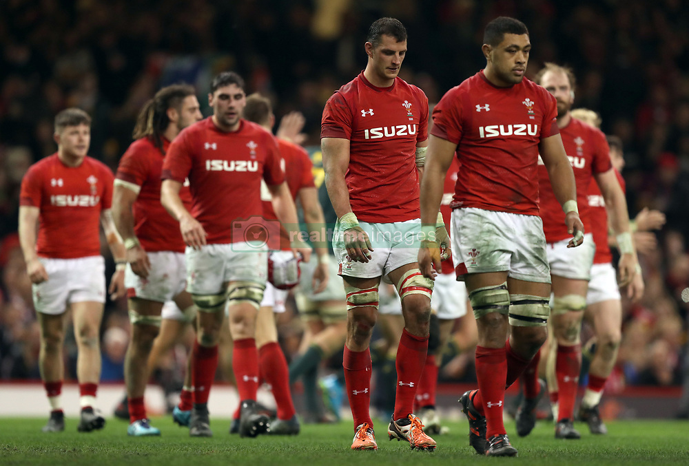 The Wales players looks dejected after conceding a second try during the Autumn International at the Principality Stadium, Cardiff.