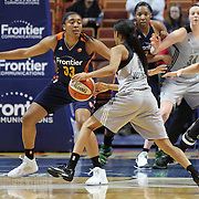 UNCASVILLE, CONNECTICUT- MAY 05: Former UConn Huskies Morgan Tuck #33 of the Connecticut Sun defends against Moriah Jefferson #4 of the San Antonio Stars during the San Antonio Stars Vs Connecticut Sun preseason WNBA game at Mohegan Sun Arena on May 05, 2016 in Uncasville, Connecticut. (Photo by Tim Clayton/Corbis via Getty Images)