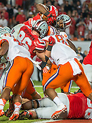 January 3, 2014 - Miami Gardens, Florida, U.S: Ohio State Buckeyes running back Carlos Hyde (34) dives over the line for a touch down during second half action of the Discover Orange Bowl between the Clemson Tigers and the Ohio State Buckeyes. Clemson defeated Ohio State 40-35 at Sun Life Stadium in Miami Gardens, Fl