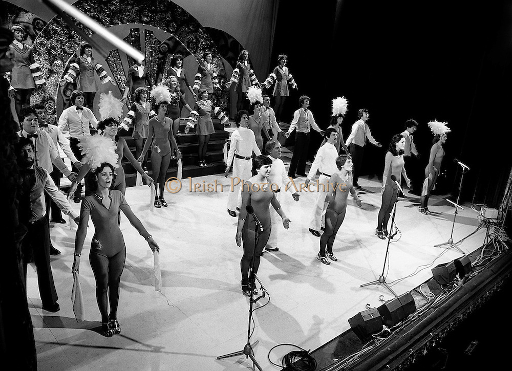 Performers in the John Player 'Tops of the Town' final, at the Gaiety Theatre, Dublin. The Irish Distillers Variety Group ultimately emerged as the winner, beating Waterford Banks and Finance by two marks.<br /> 1 June 1980