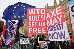 © Licensed to London News Pictures. 10/12/2018. London, UK. Pro- and Anti-Brexit protesters in Westminster as Theresa May prepares to make a statement on exiting the EU in Parliament. Photo credit: Rob Pinney/LNP