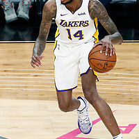 08 October 2017: Los Angeles Lakers forward Brandon Ingram (14) dribbles during the LA Lakers 75-69 victory over the Sacramento Kings, at the T-Mobile Arena, Las Vegas, Nevada, USA.