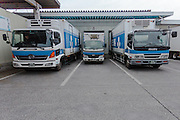 Trucks belonging to Rakuou Milk products factory in Koriyama, Fukushima, Japan Sunday November 22nd 2015