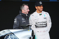 (L to R): Paddy Lowe (GBR) Mercedes AMG F1 Executive Director (Technical) with Lewis Hamilton (GBR) Mercedes AMG F1.<br /> Formula One Testing, Day One, Sunday 1st February 2015. Jerez, Spain.