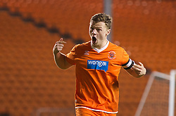 BLACKPOOL, ENGLAND - Wednesday, December 18, 2013: Blackpool's captain Sam Staunton-Turner celebrates scoring his side's fifth penalty of the shoot-out against Liverpool to make the score 3-3 during the FA Youth Cup 3rd Round match at Bloomfield Road. (Pic by David Rawcliffe/Propaganda)