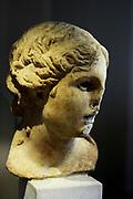 Head of a female statue marble; ancient Greek circa 5th century BC