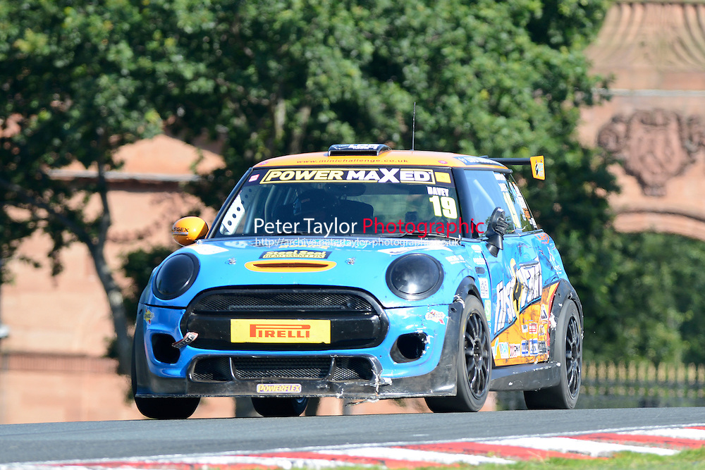 #19 Lawrence Davey Mini F56 during Power Maxed Mini Challenge - F56/JCW - Qualifying  as part of the Mini Festival  at Oulton Park, Little Budworth, Cheshire, United Kingdom. August 08 2015. World Copyright Peter Taylor. Copy of publication required for printed pictures.  Every used picture is fee-liable. http://archive.petertaylor-photographic.co.uk