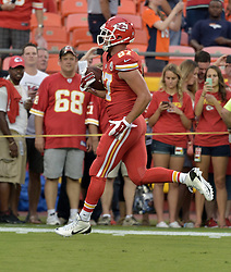 Sep 17, 2015; Kansas City, MO, USA; Kansas City Chiefs tight end Travis Kelce (87) warms up before the game against the Denver Broncos at Arrowhead Stadium. Mandatory Credit: Denny Medley-USA TODAY Sports
