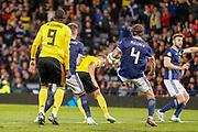 Toby Alderweireld (Tottenham Hotspur) stoops to header on target during the UEFA European 2020 Qualifier match between Scotland and Belgium at Hampden Park, Glasgow, United Kingdom on 9 September 2019.