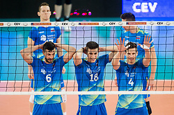 Mitja Gasparini of Slovenia, Klemen Cebulj of Slovenia, Jan Kozamernik of Slovenia during volleyball match between National teams of Slovenia and Portugal in 2nd Round of 2018 FIVB Volleyball Men's World Championship qualification, on May 26, 2017 in Arena Stozice, Ljubljana, Slovenia. Photo by Vid Ponikvar / Sportida