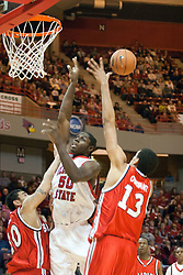 11 February 2006:  .Greg Dilligard get confronted by J.J. Tauai and rejected by Patrick O'Bryant..Illinois State Redbirds fall to the Bradley Braves at home in Redbird Arena in Normal Illinois.