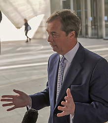 Nigel Farage leader of the Brexit Party gives an interview after Leaving the BBC in London after appearing on the Andrew Marr show. <br /> <br /> Richard Hancox | EEm 12052019