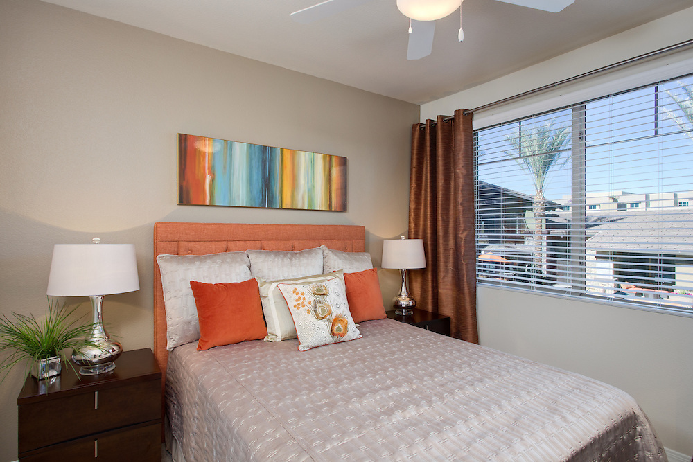 Jefferson at One apartments bedroom photography, Scottsdale, Arizona