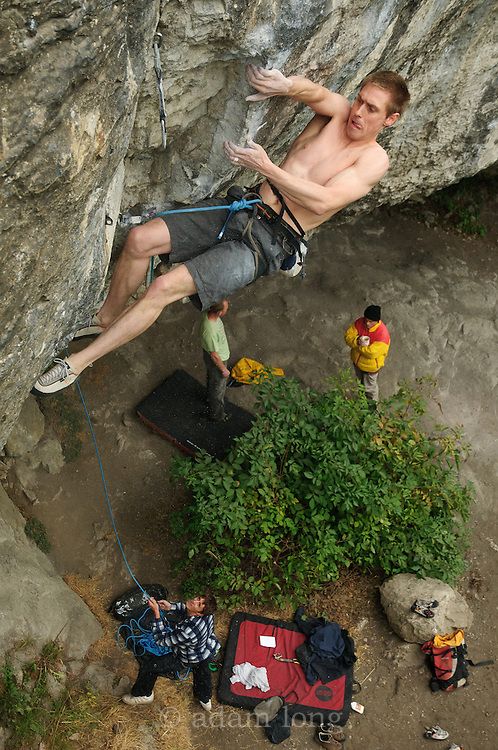 Char Williams on Mecca, 8b+, Raven Tor, Peak District