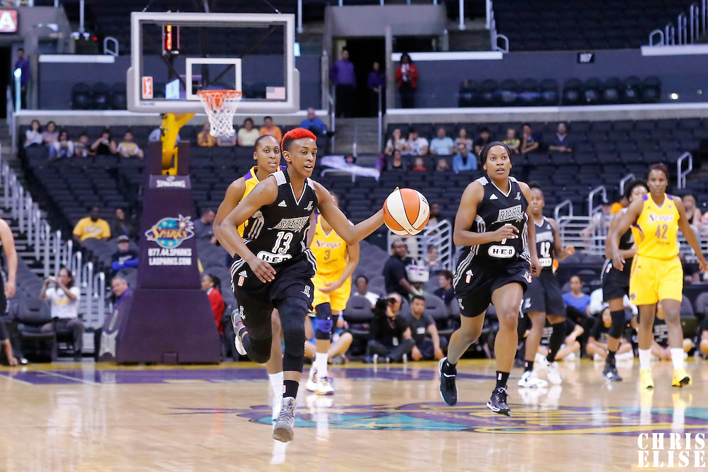 25 May 2014: San Antonio Stars guard Danielle Robinson (13) brings the ball up court on a fast break during the Los Angeles Sparks 83-62 victory over the San Antonio Stars, at the Staples Center, Los Angeles, California, USA.
