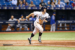 May 9, 2017 - St. Petersburg, Florida, U.S. - WILL VRAGOVIC   |   Times.Tampa Bay Rays second baseman Brad Miller (13) watches his solo home run head for the wall in the sixth inning of the game between the Kansas City Royals and the Tampa Bay Rays at Tropicana Field in St. Petersburg, Fla. on Tuesday, May 9, 2017. (Credit Image: © Will Vragovic/Tampa Bay Times via ZUMA Wire)