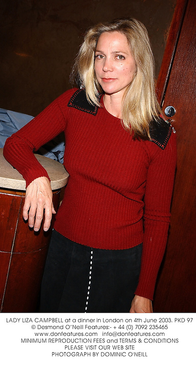 LADY LIZA CAMPBELL at a dinner in London on 4th June 2003.PKD 97
