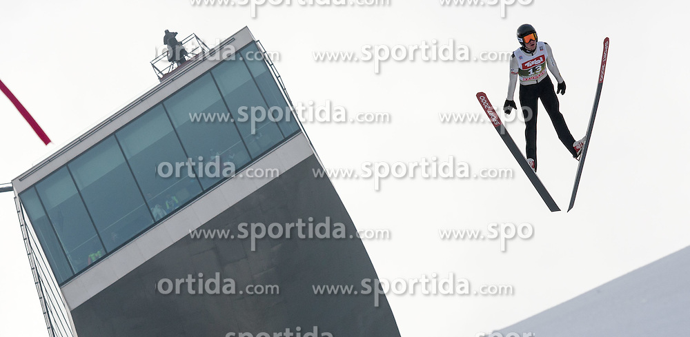03.01.2015, Bergisel Schanze, Innsbruck, AUT, FIS Ski Sprung Weltcup, 63. Vierschanzentournee, Innsbruck, Training, im Bild Siim Tanel Sammelselg (EST) // Siim tanel Sammelselg of Estonia soars through the air during a training session for the 63rd Four Hills Tournament of FIS Ski Jumping World Cup at the Bergisel Schanze in Innsbruck, Austria on 2015/01/03. EXPA Pictures © 2015, PhotoCredit: EXPA/ Jakob Gruber
