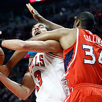 04 May 2011: Chicago Bulls center Joakim Noah (13) is fouled by Atlanta Hawks center Jason Collins during the Chicago Bulls 86-73 victory over the Atlanta Hawks, during game 2 of the Eastern Conference semi finals at the United Center, Chicago, Illinois, USA.