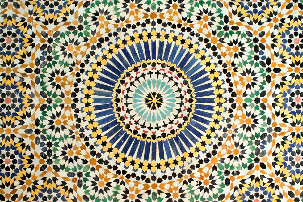 Telouet Kasbah intricate zelij mosaic work, High Atlas Mountains, Morocco, 2013-10-10. <br />