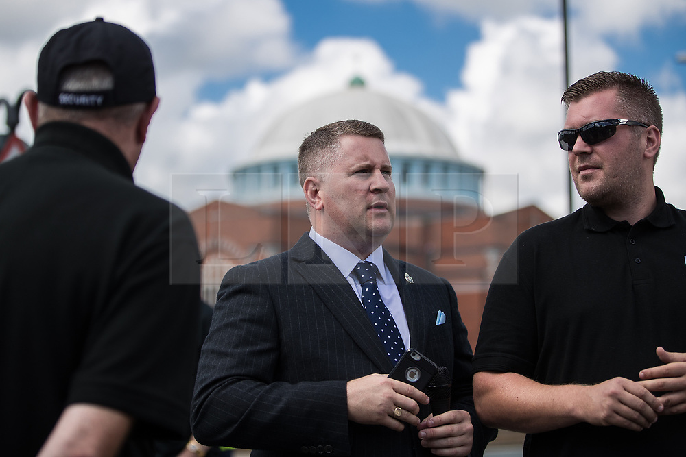 © Licensed to London News Pictures . 22/07/2017 . Rochdale , UK . PAUL GOLDING . Britain First hold a demonstration in Rochdale , opposed by anti-fascist groups . Britain First say they are highlighting concerns about child sexual exploitation in the town . Photo credit: Joel Goodman/LNP