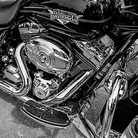 Harley-Davidson motorcycle chrome engine detail.