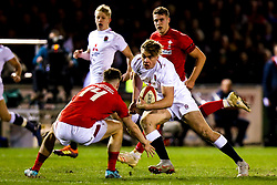 Ollie Hassell-Collins of England U20 takes on Tomi Lewis of Wales U20 - Mandatory by-line: Robbie Stephenson/JMP - 22/02/2019 - RUGBY - Zip World Stadium - Colwyn Bay, Wales - Wales U20 v England U20 - Under-20 Six Nations