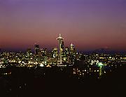 AA00564-01...WASHINGTON - A 1988 photo of the Seattle skyline at sunset.